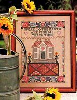 ✔️ Cross Stitch Chart SPEAK TO THE EARTH Bible Job 12:8 Sampler Flowers House