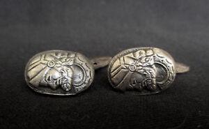 Victorian Silver Pair of Cufflinks - Head of an Ancient Greek soldier
