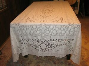 """ANTIQUE Early 1900's Quaker Lace Dinner Banquet Tablecloth Ecru 72"""" by 104"""""""