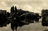 Leuna Sachsen-Anhalt DDR Postkarte 1960 gelaufen Eingang zum Waldbad Brücke