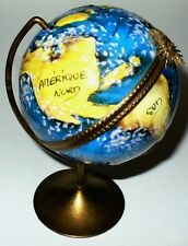LIMOGES FRANCE BOX- SPINNING WORLD GLOBE & METAL AXIS -SUNBURST CLASP- GEOGRAPHY