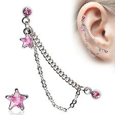 "1 - 16 Gauge 5/16"" Star Double Chained Cartilage Ring Dangling Stud Earring A84"