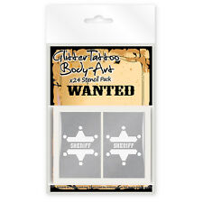 24 x Wild Wild West Cowboys and Indians Glitter Tattoo / Body Art Stencils!