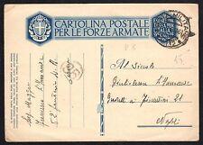 STORIA POSTALE AOI 1936 Cartolina Franchigia da Derna PM 132 a Napoli (FILT)