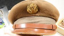 WWII US Army Bancroft Imported English Fur Felt Visor Cap Crusher