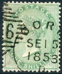 1856 1/-pale green wmk emblems. S.G. 73.