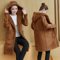 Womens Faux Suede Hooded Parka Faux Lamb Fur Lined Coat Long Warm Thicken Jacket