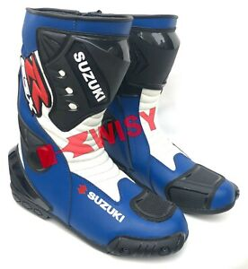 Suzuki Latest LEATHER RACING Motorbike Shoes Motorcycle Boots Rubber Sole