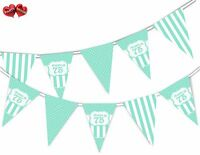 Happy 75th Mint Happy Birthday Anniversary Themed Bunting Banner by PARTY DECOR