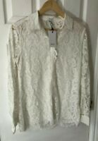 New Reiss Yasi Lace Blouse Top Shirt, Off White, UK 10, RRP £245
