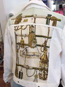 """Hermes """"passementerie"""" Scarf Appliqued Denim Jacket szL"""