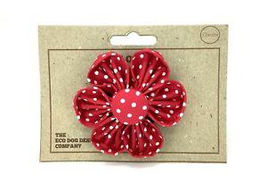 Red Polka Dot Detachable Flower, Dog Collar Accessory