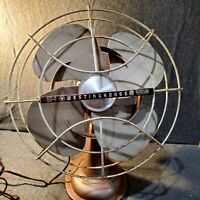 Vintage Westinghouse 12LA5A Rotating Desk Fan Metal Cage Works  2 speed