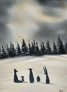 Original watercolour painting.  Best friends, fox,badger, mouse, hedgehog  hare