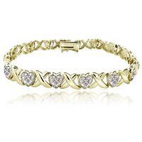 1.00ct TDW Diamond X & Heart Bracelet in Gold Tone