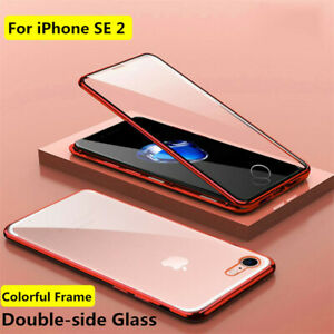 Estuche 360 Magnético Funda metal vidrio templado para iPhone SE 2020 6 7 8 Plus