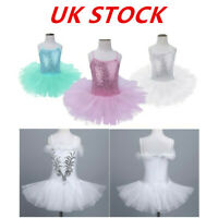 UK Girls Ballet Dress Swan Dance Gymnastics Ice Skating Sequined Skirt Dancewear