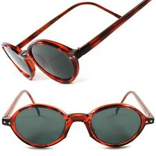 Old Fashioned Vintage Retro Hip 70s Brown Mens Womens Small Round Sunglasses C63