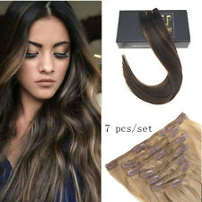Sunny Remy Quality Clip in Human Hair Extensions Balayage Brown 2/2/6# 7pcs 120g
