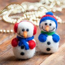 Felt Snowmen Set of 2 Christmas Decor Home Decorations Handmade Ornament Gift