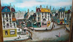 "Robert Scott 36"" by 24"" Paris Street Scene Oil Painting Parisian"