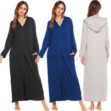 Women Long Sleeve Loose Casual Hooded Shirt Dress Hoodies Long Maxi Dress Robe