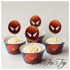 12 pcs Spiderman Cake Cupcake Toppers + Wrappers. Party Supplies Lolly Loot Bags