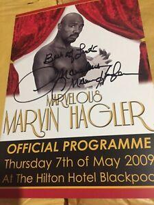 Marvin Hagler Signed Dinner Programme comes with COA. Legend
