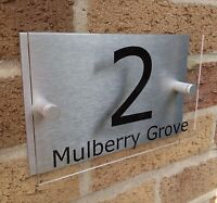 HOUSE NUMBER SIGN / PLAQUE Brushed Aluminium & Acrylic Modern Contemporary Style