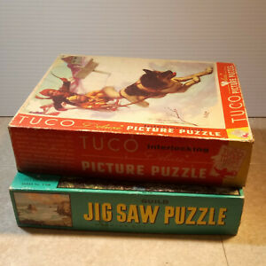 Pair of Vintage Jigsaw Puzzles Complete - Tuco Boy Dog Sled - Guild Ocean Scene