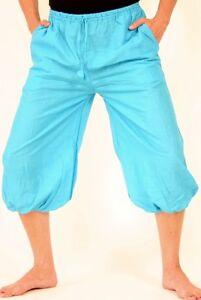 Kurze türkisene Ballonhose mit Taschen Einheitsgröße 100% Baumwolle Goa Yoga