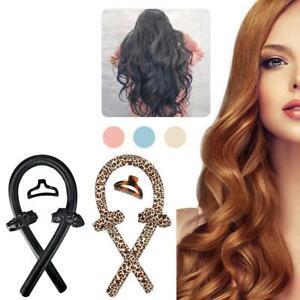 No Heat Curling Rod Curls Silk Ribbon Hair Rollers Sleeping Soft Headband UK
