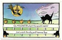 Halloween ~Art Deco~Witch~Moon~Black Cats~JOL~ Pumpkins~Antique Postcard-a587