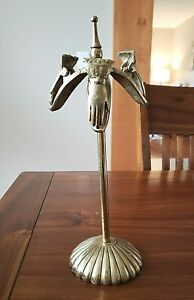 VINTAGE VICTORIAN STYLE BRASS HAND CLIP LETTER HOLDER ON STAND 3 CLIPS