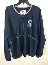 Vintage MLB Seattle Mariners Majestic Authentic Team Windbreaker Jacket Sz XL