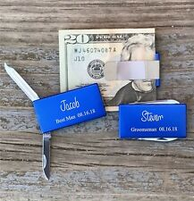 12 Each Personalized Engraved Money Clips Knife Groomsman Best Man Gifts Blue