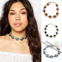 Fashion Women Flower Crystal Pendant Statement Chunky Choker Bib Necklace Chain