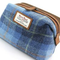 Harris Tweed Castlebay Blue Cosmetic or Washbag & Leather Trim New Line