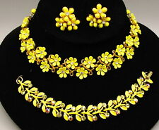 Yellow Coro Thermoplastic Flower Necklace, Earrings, Bracelet Lot, Vintage 1960