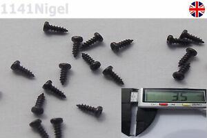 M1 x 3mm Black Phillips Self-tapping Small Wood Screws -