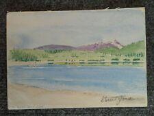 "Ça 1985 Watercolor Stuart Jones Te Anau NZ Golf Club 5x7"""