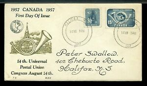1957 FDC UPU with Barrel cancel Thremographic Cachet cover Canada