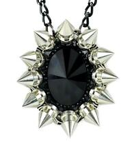 Large Black Stone Necklace w/ Chaos Star Spikes Goth Emo Punk Alternative Grunge