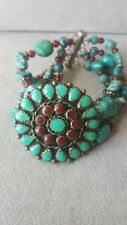 """Contemporary  7"""" Turquoise & carnelian With Sterling Clasp Bracelet"""