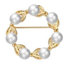 Occident Women Pearl Flower Leaf Brooches Pin Wedding Bridal Alloy Jewelry Gifts