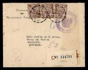 DR WHO 1932 PERU OFFICIAL REGISTERED TO AUSTRALIA  g23560
