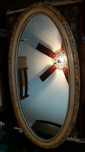 "Antique Oval Almond Wall Mirror 23.5""W X 45.5""H w/17.5""W Marble Base"
