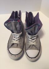 Chuck Taylor Converse High Top Zip Up Purple Double Upper Youth Size 2 Sneakers