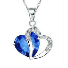 Fashion Women Heart Blue Crystal Rhinestone Silver Chain Pendant Necklace  HOT