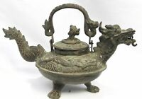 Vintage Dragon Naga Statue Verdigris Bronze Indonesian Temple holy water pot